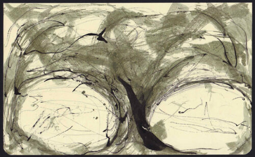 Autoritratto, aniline e china su quaderno moleskine 20,5x13cm