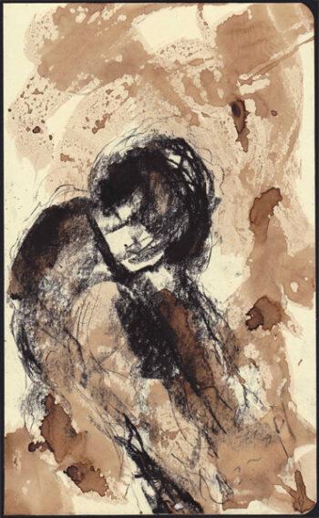Autoritratto, aniline e china su quaderno moleskine 13x20,5cm