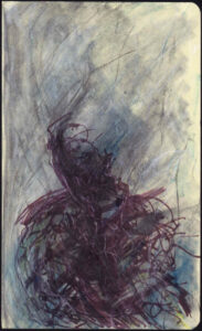 Autoritratto, tecniche miste su quaderno moleskine 13x20,5cm