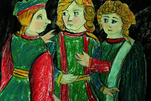 Gli amanti (2013) Carboncino e pastelli Rembrandt su carta (collage) 29,7x 21cm