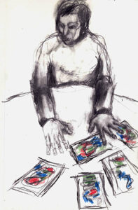 Mescola le carte (2013) tecnica mista su quaderno 10x15cm